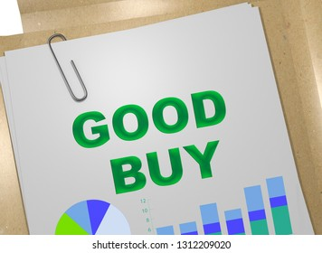 3D illustration of GOOD BUY title on business document