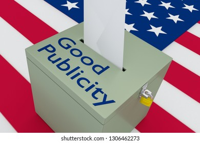 3D illustration of Good Publicity script on a ballot box, with US flag as a background.