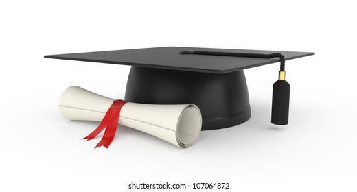 3d illustration of graduation cap with diploma. Isolated on white background