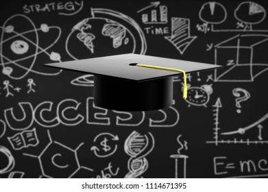 3d illustration of graduation hat on black background