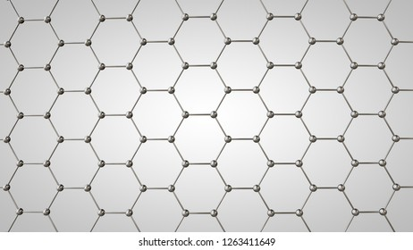 3D illustration of graphene grid, carbon molecules of metallic color. The idea of nanotechnology, superconductor and super battery. 3D rendering on white background