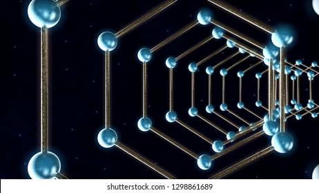 3D illustration of graphene molecules on a dark background. The idea of nanotechnology, the future of humanity. Carbon atoms are joined into a molecule. 3D rendering