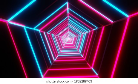 3D illustration graphic of beautiful red and blue color neon lighting pentagon shape tunnel seamless looping motion graphics.