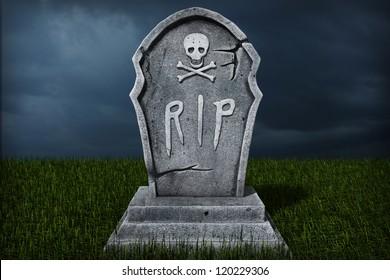 3d Illustration of a Gravestone