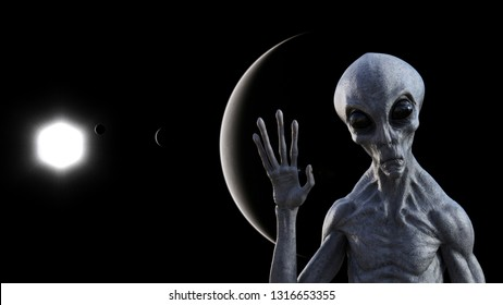 3d illustration of a gray alien in space waving goodbye with a dark planets and a sun in the background.