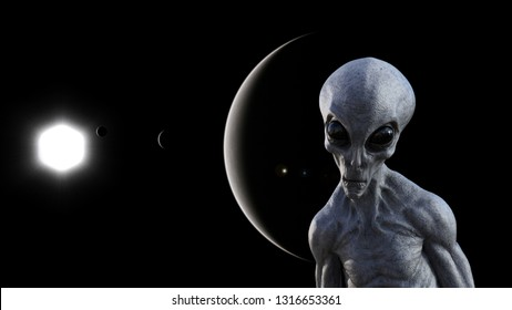 3d illustration of a gray alien in space with a dark planets and a sun in the background.