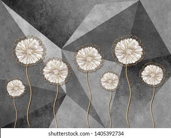 3d illustration, gray background consisting of triangles, large fabulous dandelions