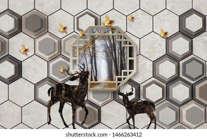 3d illustration, gray background, hexagons, golden birds, dark abstract deer, hexagonal frame with a landscape inside