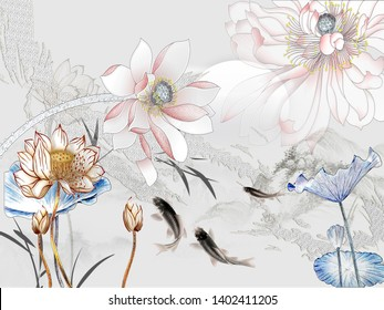 3d illustration, gray background, pink, blue and beige fabulous flowers, dark gray fish