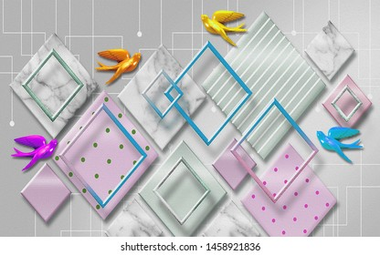 3D illustration, gray background, pink and gray various rhombuses, diamond-shaped frames, multi-colored ceramic birds