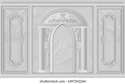 3d illustration, gray background, stucco, arches and frames