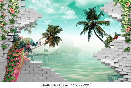 3d illustration, gray bricks, peacocks, palm trees, water, hanging bridge