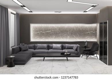 3d illustration of a gray living room