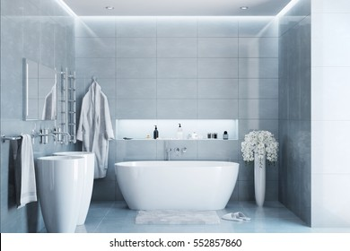 3d illustration of gray modern bathroom with equipment and accessories in the daylight