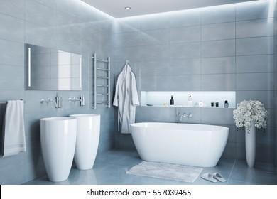 3d illustration of gray modern bathroom in the daylight
