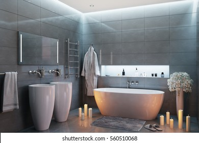 3d illustration of gray modern bathroom in the evening