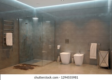 3d illustration. Gray modern shower room in the evening1