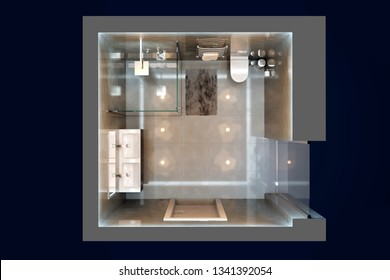 3d illustration of gray modern shower room. Top view