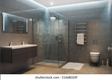 3d illustration of gray modern shower room with equipment and accessories in the evening