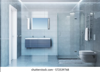 3d illustration of gray modern shower room with equipment and accessories in the daylight