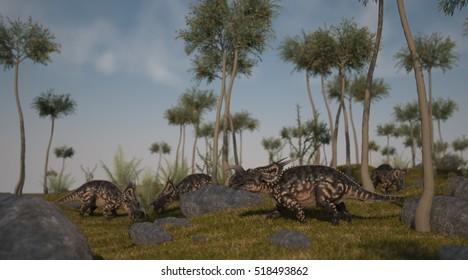 3d illustration of the grazing einiosauruses