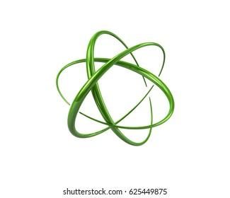 3d illustration of green atom symbol isolated on white background