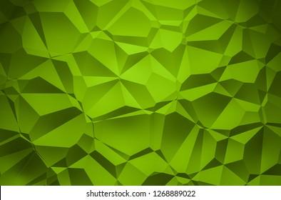 3D Illustration - green brilliant triangle pattern Background 3