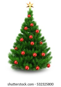 3d illustration of green Christmas tree over white background with golden star and red balls