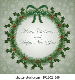 3D Illustration of a green Christmas wreath decorated with holly, and snowflakes with the message Merry Christmas and Happy New Year.