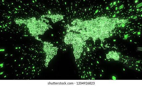3D Illustration of green circuitry world map rendered as binary information