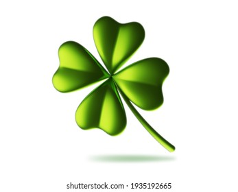 3d illustration of green four leaf clover on white background. Saint Patricks Day design for greeting card, banner, poster