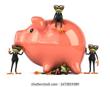 3D Illustration of green frogs next to a piggy bank