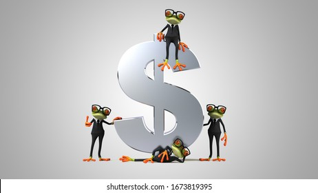 3D Illustration of green frogs next to a dollar
