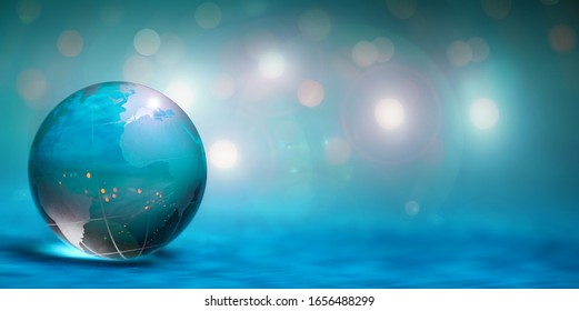 3D Illustration - Green glass globe in front of lights