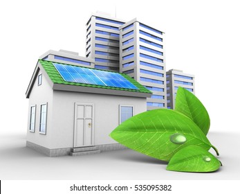 3d illustration of green house over white background with city and green leaf