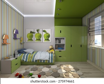 3d illustration of a green nursery for a boy