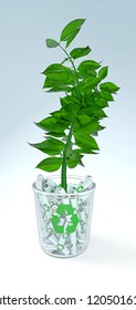 3d illustration of a green plant planted into a glass bowl filled with rechargeable batteries