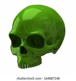 3d illustration of green skull isolated on white background