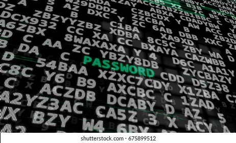 3d illustration. Green Word -Password- between searching of abstract passwords or combinations codes or confidential keys.