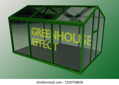 3D illustration of GREENHOUSE EFFECT title placed in a greenhouse, with a green gradient backgrond.