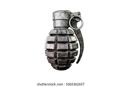 3d illustration of a grenade isolated on white background