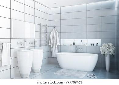 3d illustration. Grey modern bathroom transformed into a drawing