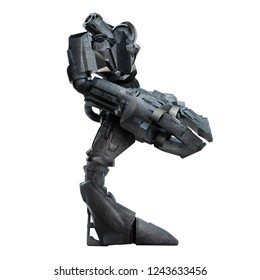 3d illustration of a grey steel futuristic sci-fi mech warrior robot  standing with grab arm and gun isolated on white background profile view.