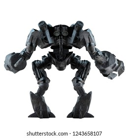 3d illustration of grey steel futuristic sci-fi mech warrior robot  standing isolated on white background back view.
