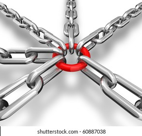 3d illustration of a group of silver chain - conceptual image