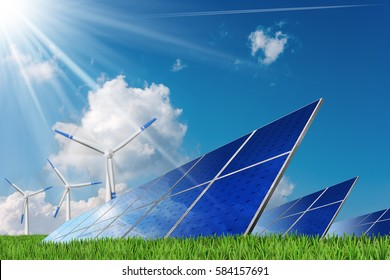 3D illustration of a Group of solar panels and wind turbines on a blue sky with clouds and sun rays. Solar and wind energy