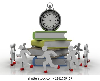 3d illustration groups of book with stopwatch around students