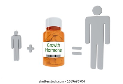 3D illustration of Growth Hormone title on pill bottle, isolated on white.