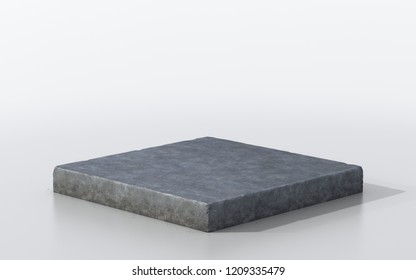3D Illustration grunge cement concrete ground cross section, 3D rendering greycutaway rough stone floor isolated