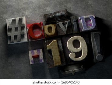 3D Illustration of grunge wooden blocks  with Covid-19 text and typography sign on concrete background. Graphic for coronvirus lock down and covid infection